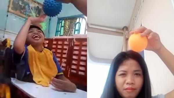 Ein Kind mit einer Behinderung macht von zu Hause aus motorische Übungen mit Hilfe seines Erziehers